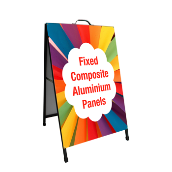 a-frame display with fixed sign